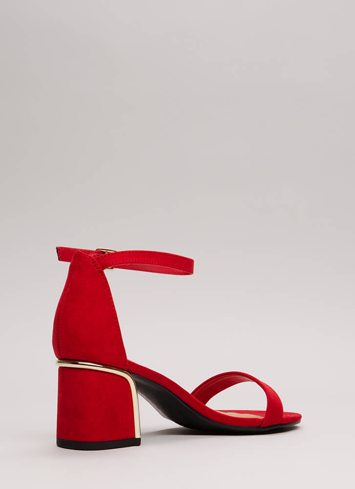 Best Feature Shiny Accent Floral Heels RED