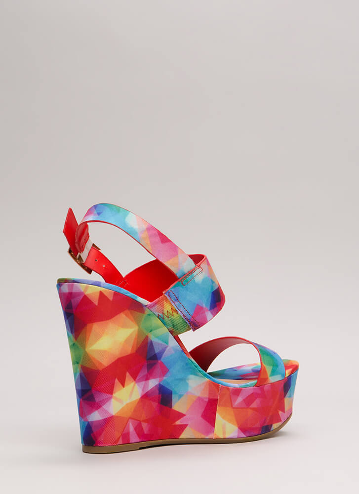 Going On Vacation Printed Wedges FUCHSIA