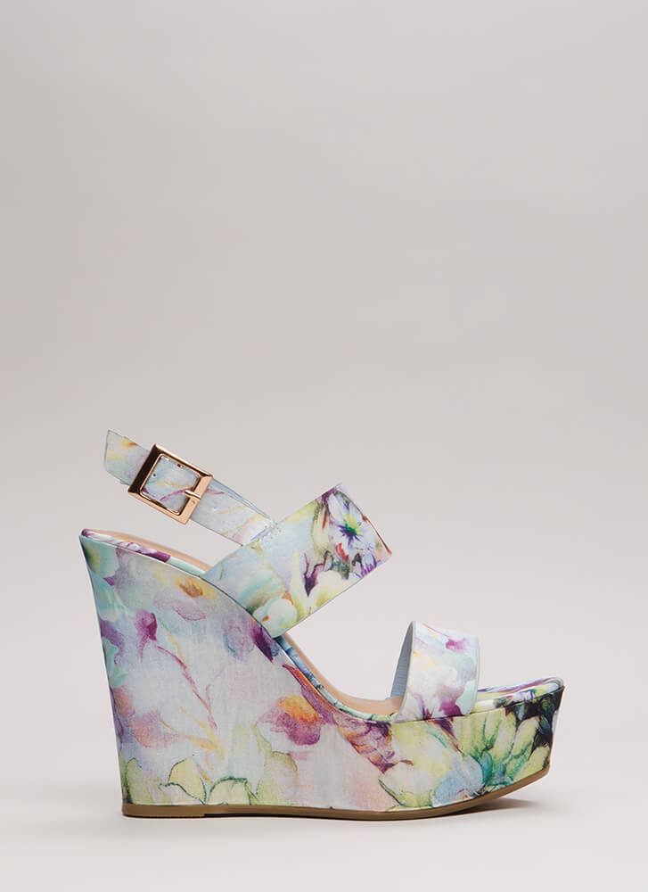 Going On Vacation Printed Wedges PERIWINKLE