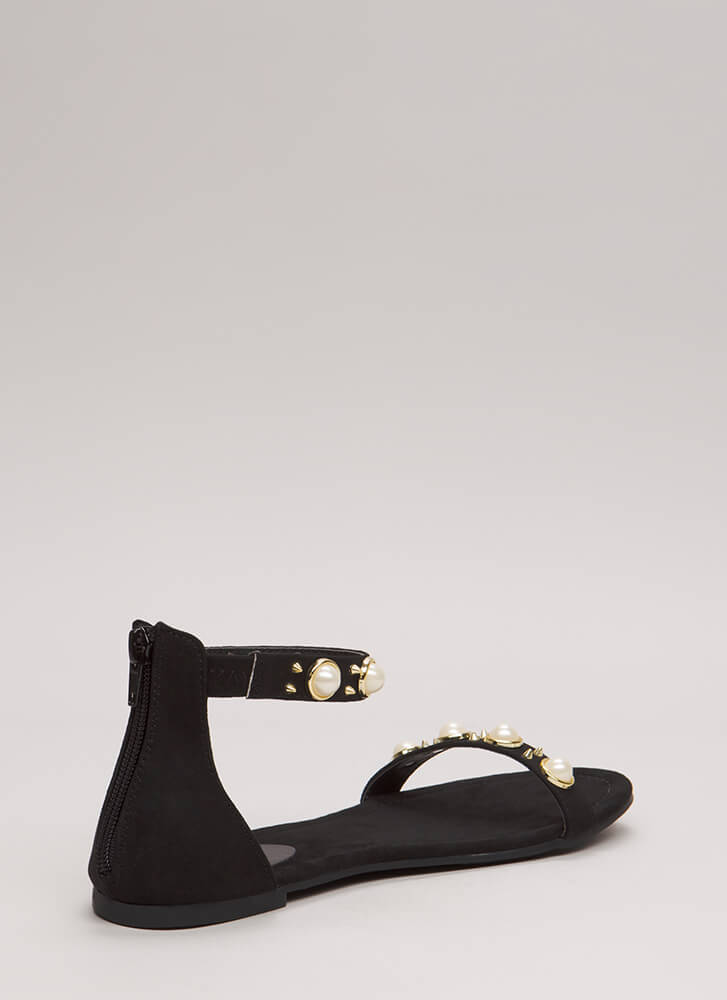Embellish The Story Faux Pearl Sandals BLACK