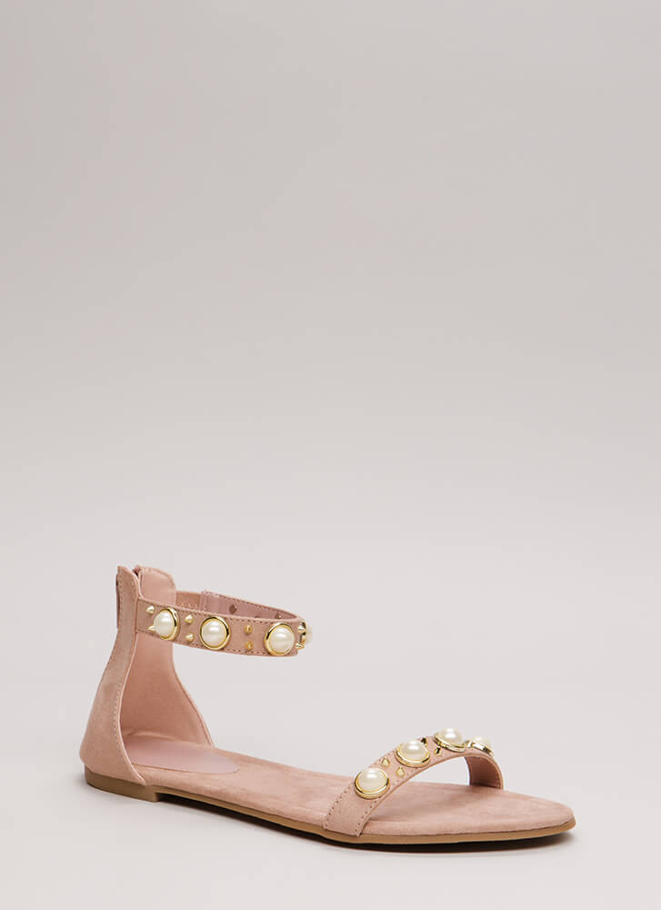 Embellish The Story Faux Pearl Sandals MAUVE