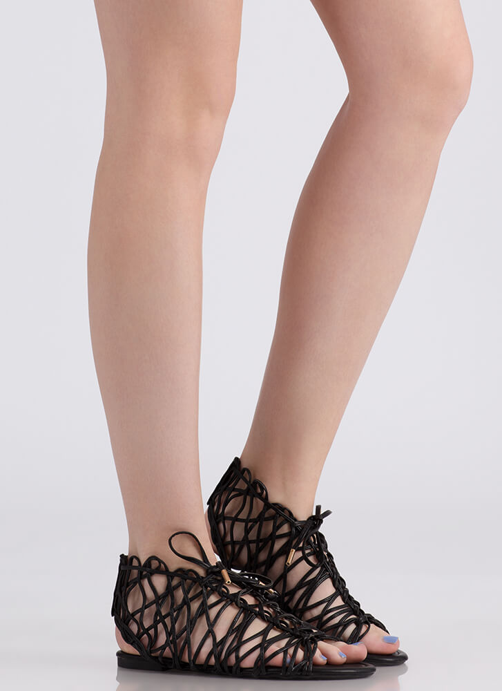 Tangled Web Faux Leather Caged Sandals BLACK
