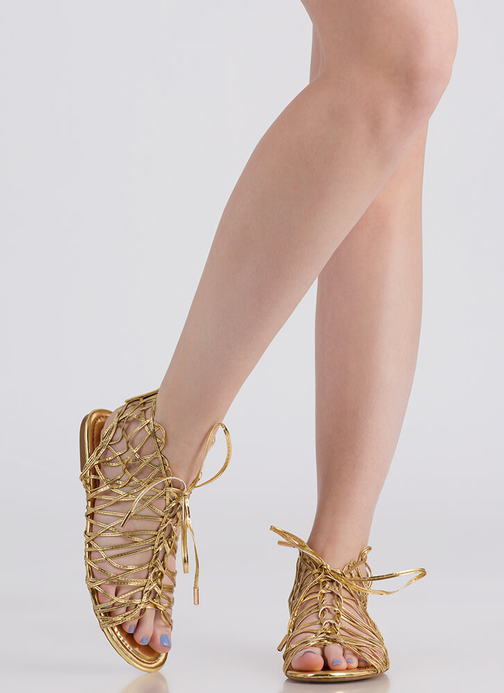 Tangled Web Metallic Caged Sandals GOLD