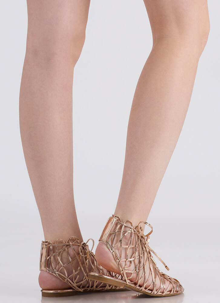 Tangled Web Metallic Caged Sandals ROSEGOLD