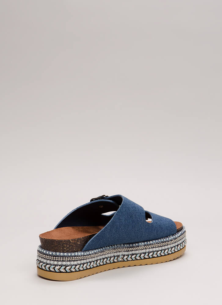 All The Trimmings Denim Slide Sandals BLUE
