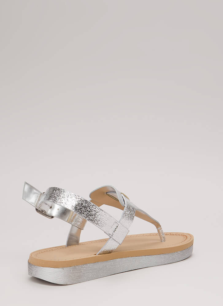 Shiny Pedi Foiled Thong Sandals SILVER