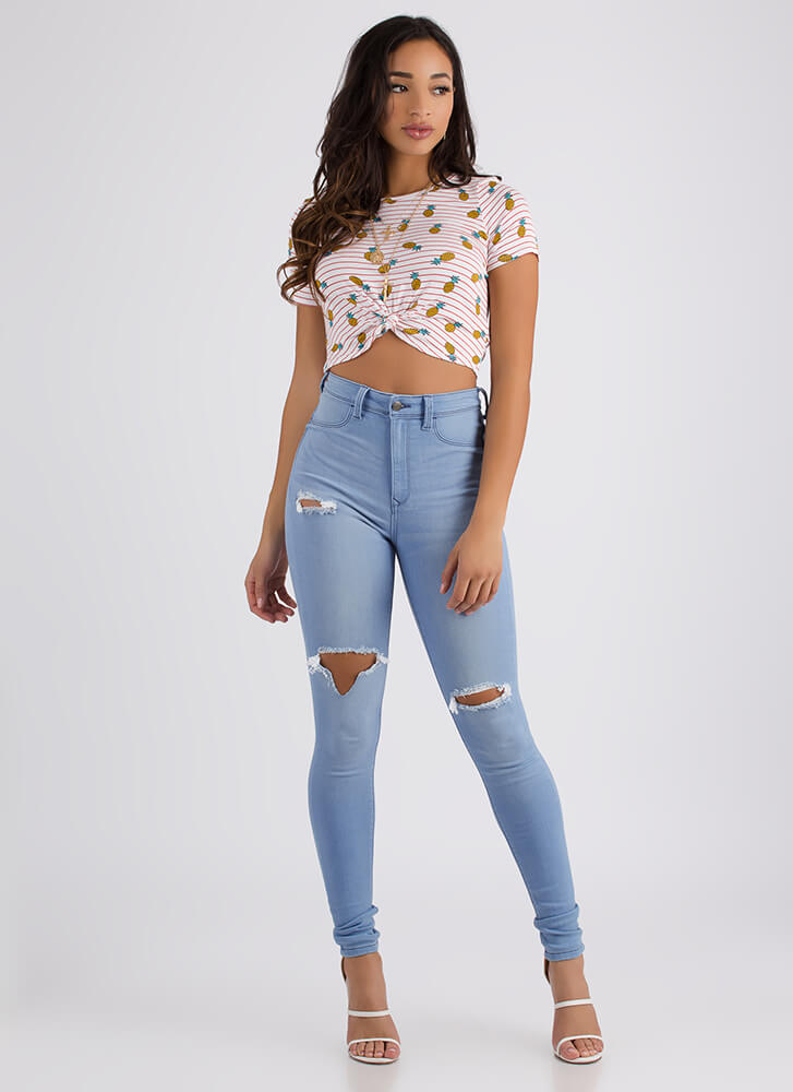 Live In A Pineapple Striped Crop Top WHITE