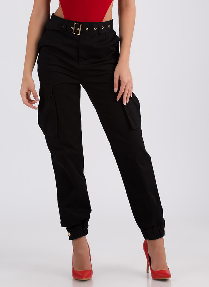 Pick Pockets Belted Cargo Joggers BLACK