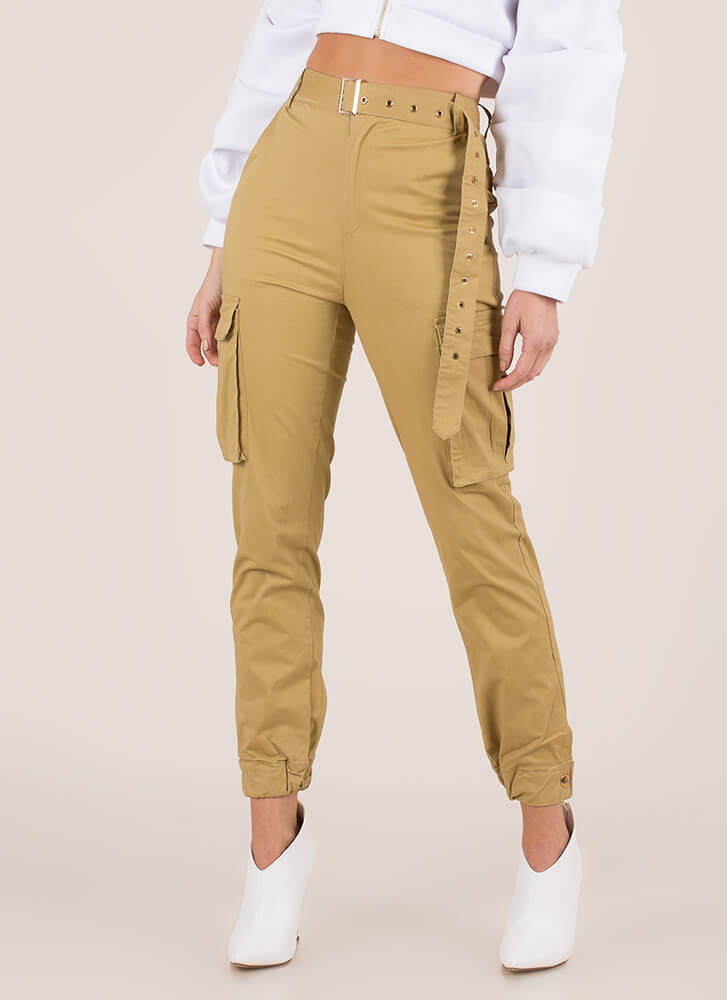 Pick Pockets Belted Cargo Joggers KHAKI (You Saved $36)