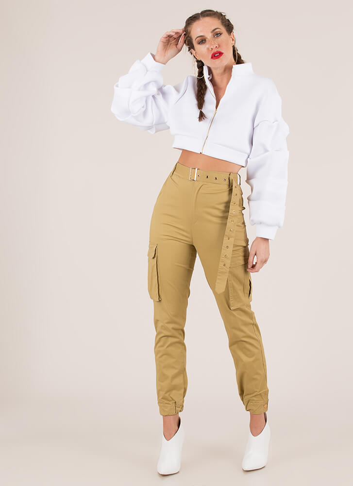 Pick Pockets Belted Cargo Joggers KHAKI (You Saved $30)