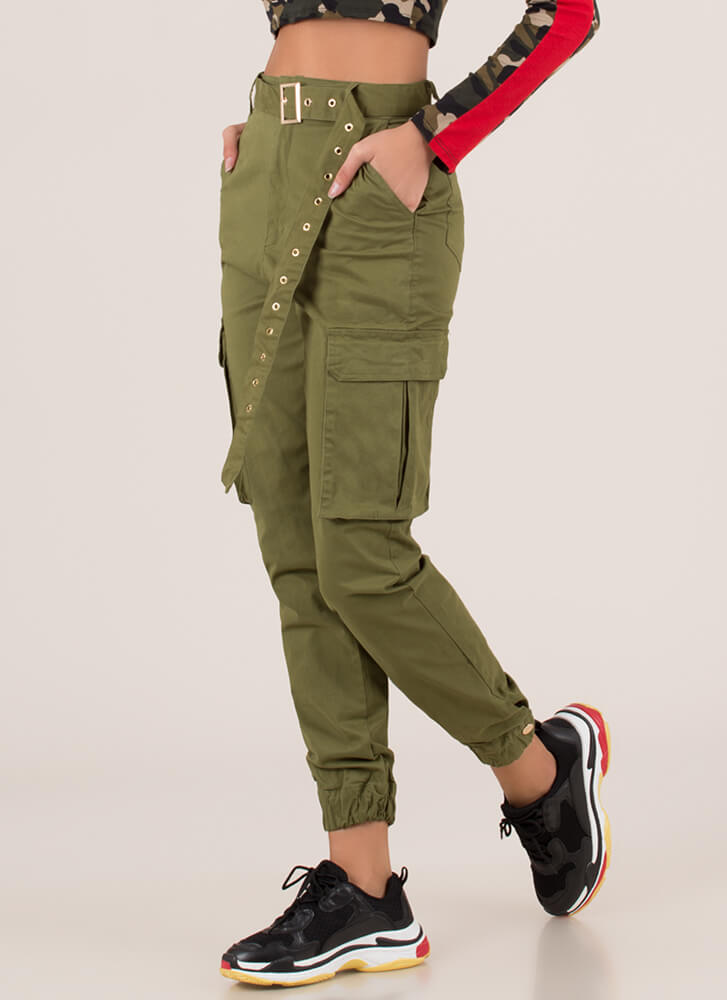 Pick Pockets Belted Cargo Joggers OLIVE