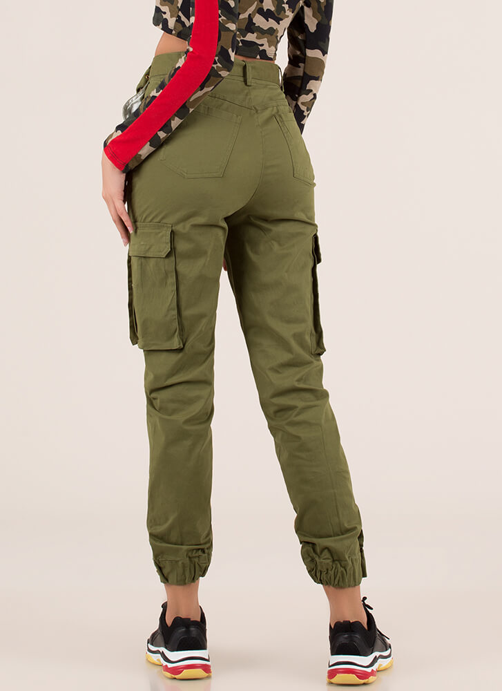 Pick Pockets Belted Cargo Joggers OLIVE (You Saved $36)