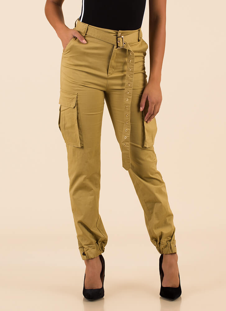 Pick Pockets Belted Cargo Joggers TAUPE
