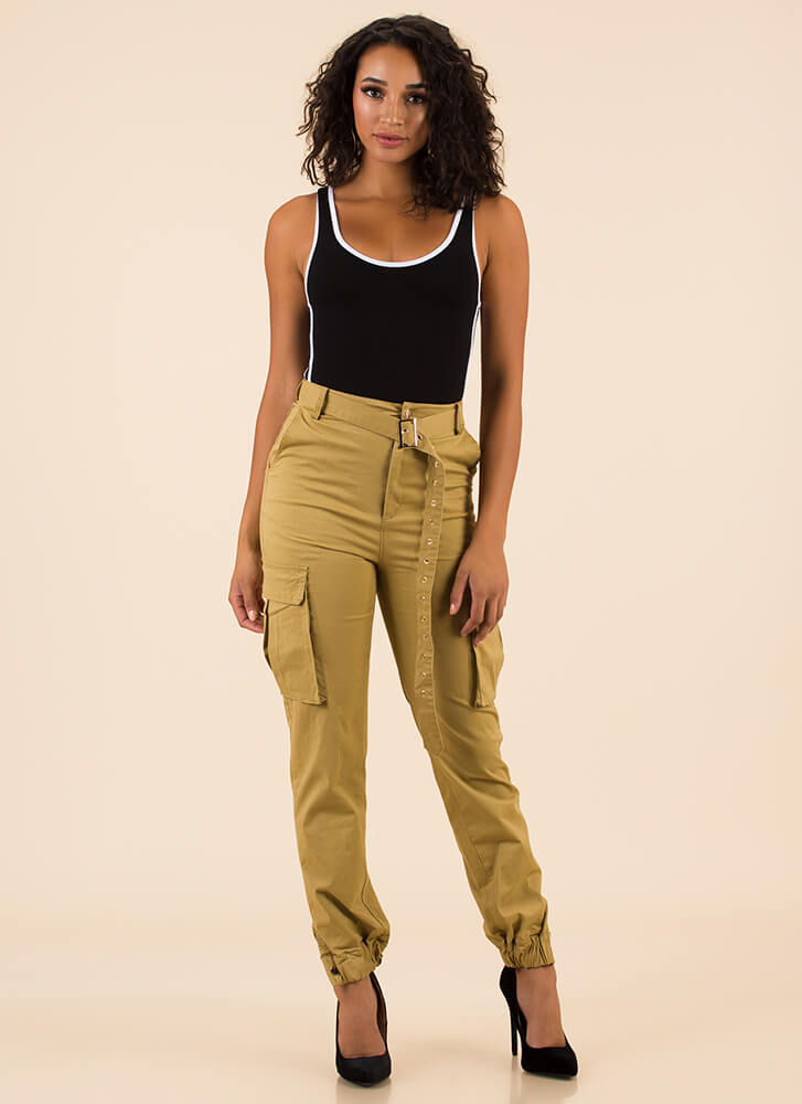 Pick Pockets Belted Cargo Joggers TAUPE (You Saved $36)