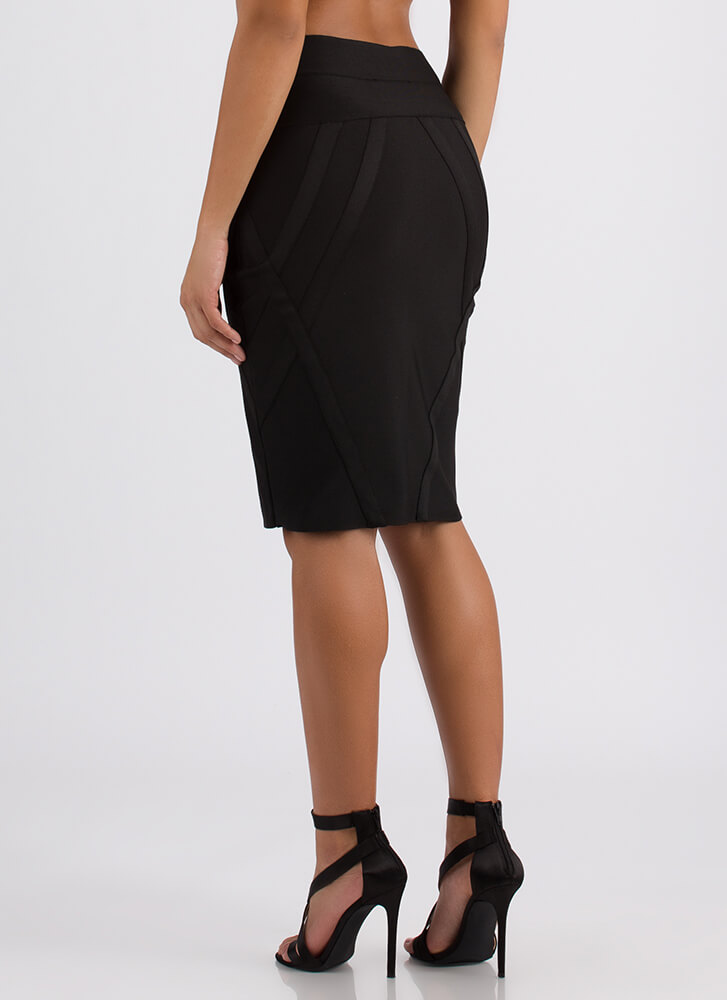 Wrapped In A Bandage Pencil Skirt BLACK