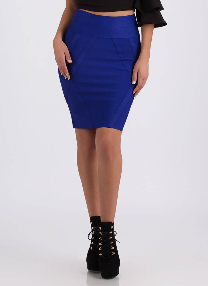 Wrapped In A Bandage Pencil Skirt ROYAL