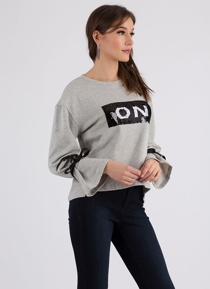 On-Off Relationship Sequined Sweatshirt HGREY (You Saved $15)