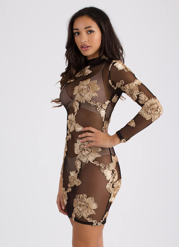 True Ribbon Floral Mesh Minidress BLACKTAUPE