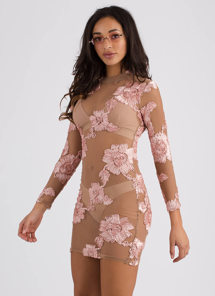 True Ribbon Floral Mesh Minidress TAUPEMAUVE
