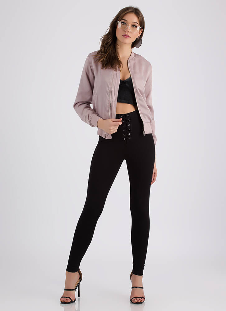 On Your Way Zip-Up Bomber Jacket LILAC