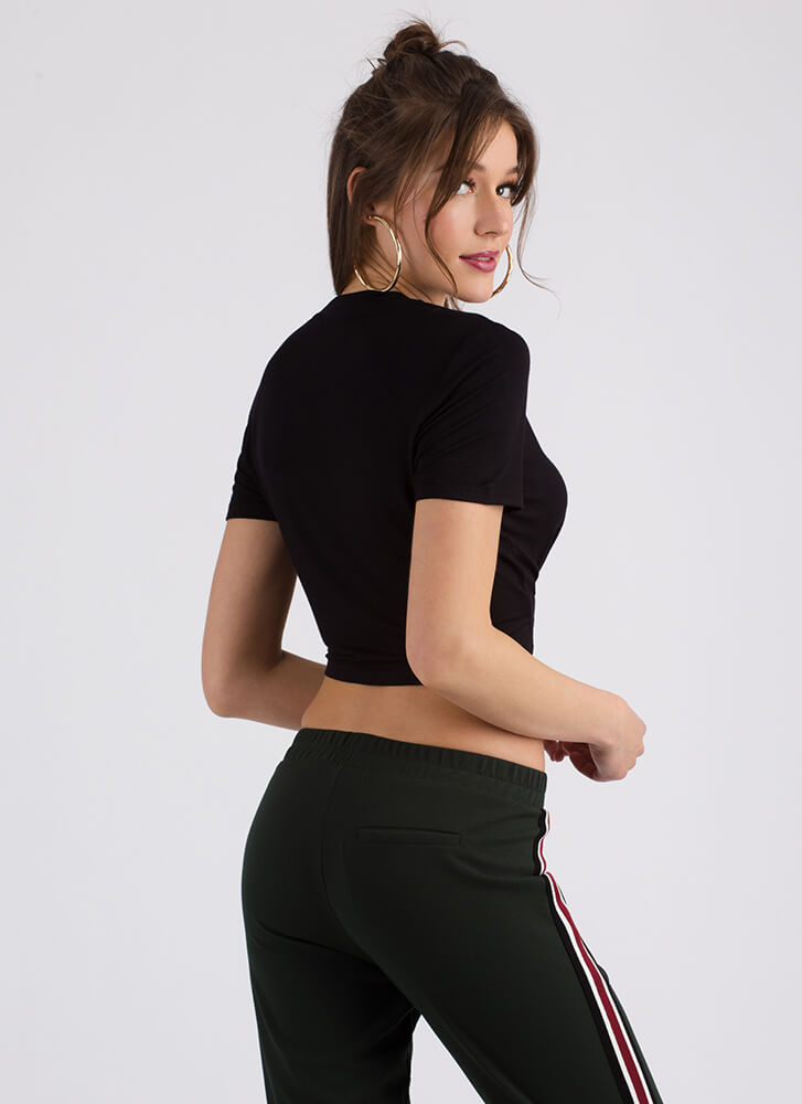 Way Too Cute Knotted Cropped Tee BLACK