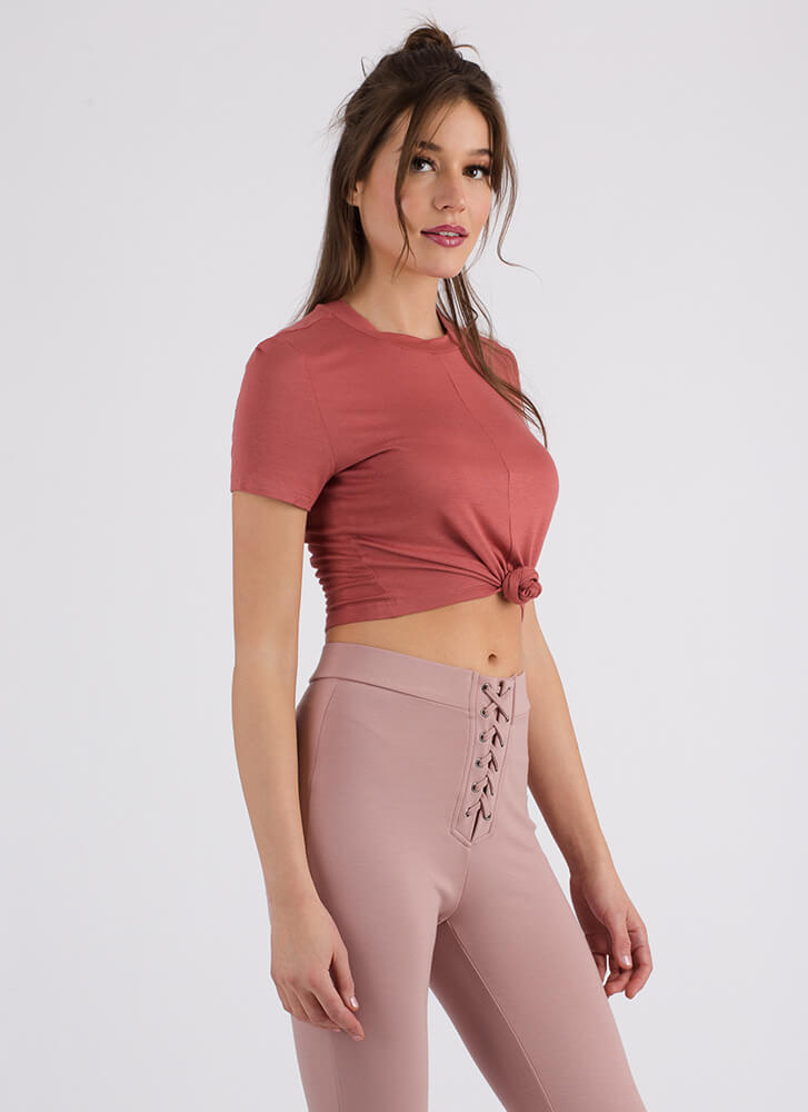 Way Too Cute Knotted Cropped Tee CINNAMON