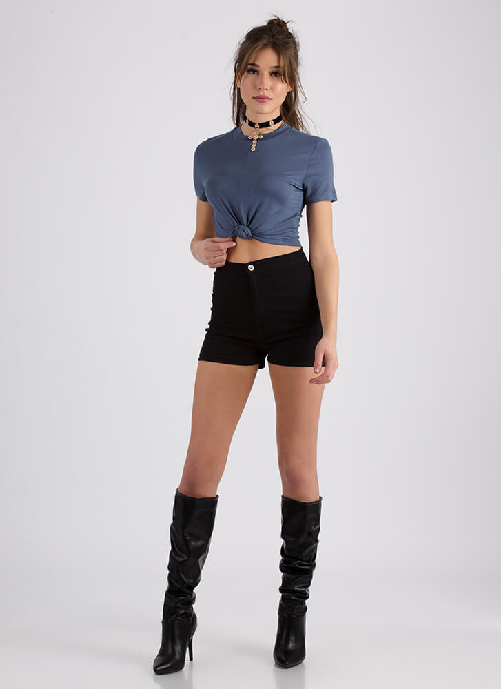 Way Too Cute Knotted Cropped Tee SLATE