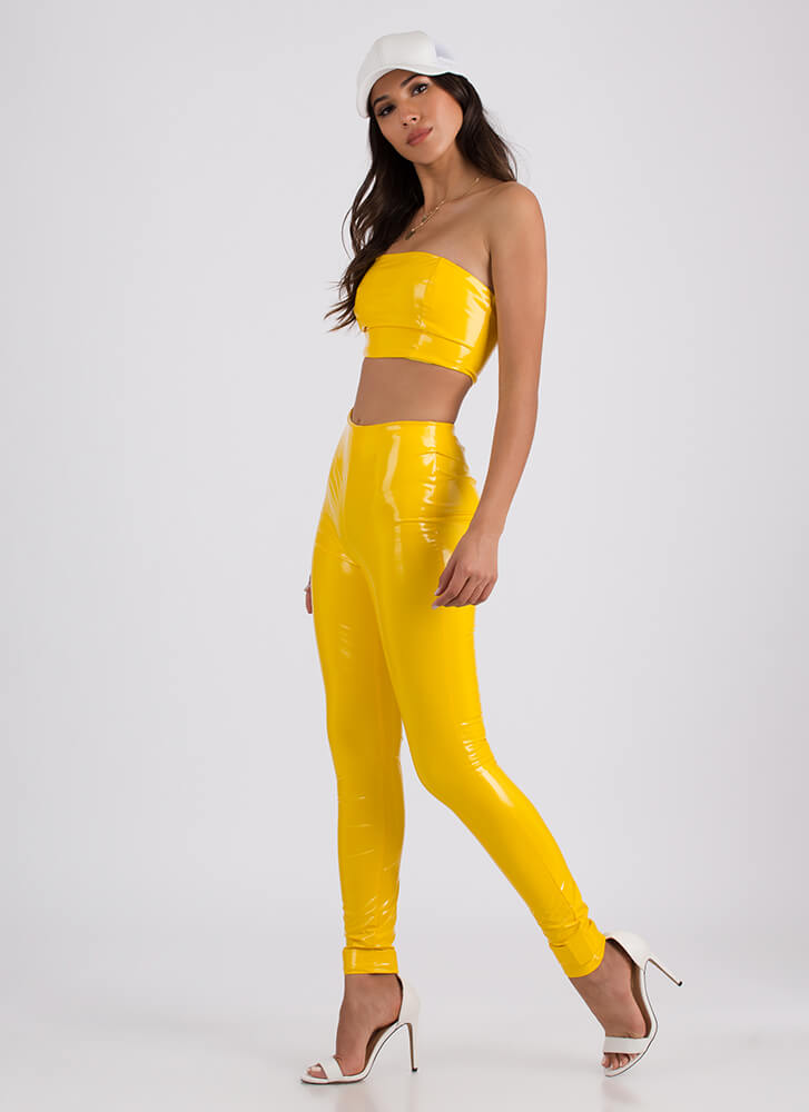 So Slick Faux Patent Top And Pant Set YELLOW (Final Sale)