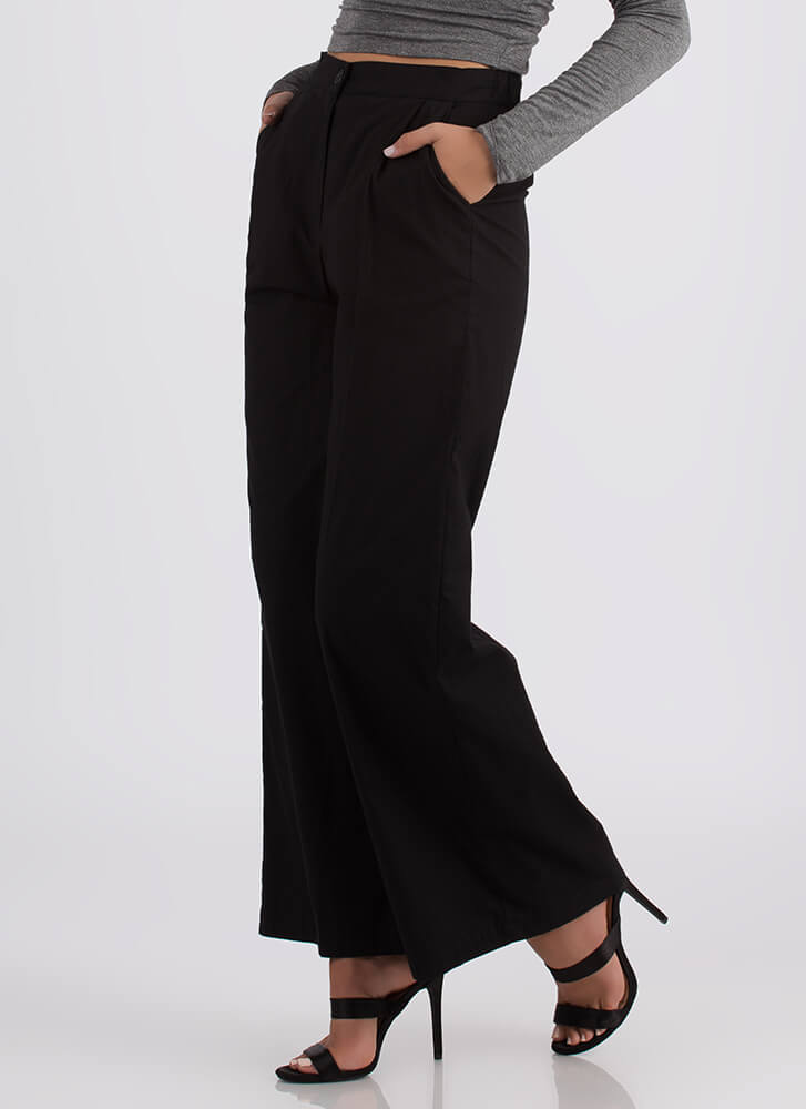 Sophisticated Flare Palazzo Pants BLACK
