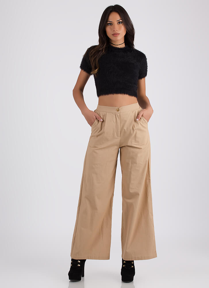 Sophisticated Flare Palazzo Pants TAUPE
