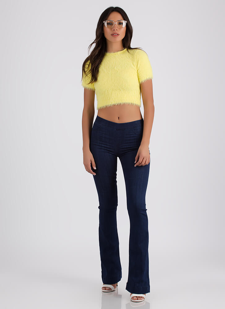 The Warm Fuzzies Knit Crop Top YELLOW