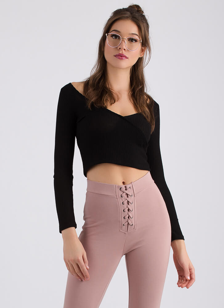Wrap Party Tied Rib Knit Crop Top Black Offwhite Mauve Gojane