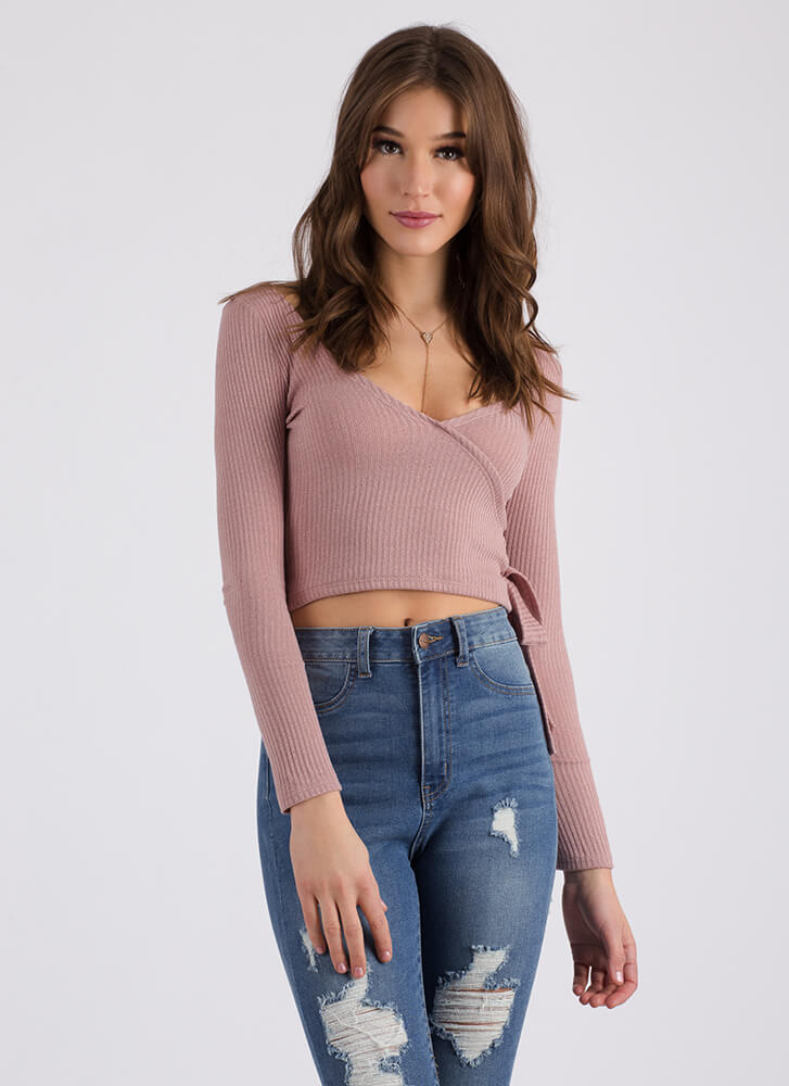 Wrap Party Tied Rib Knit Crop Top MAUVE