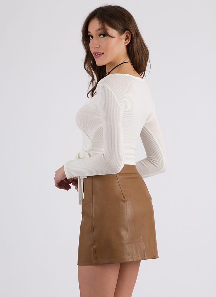 Wrap Party Tied Rib Knit Crop Top OFFWHITE (You Saved $15)