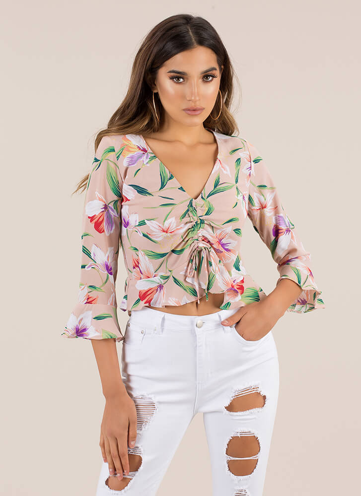 Garden Gathering Ruffled Floral Blouse MOCHA (Final Sale)