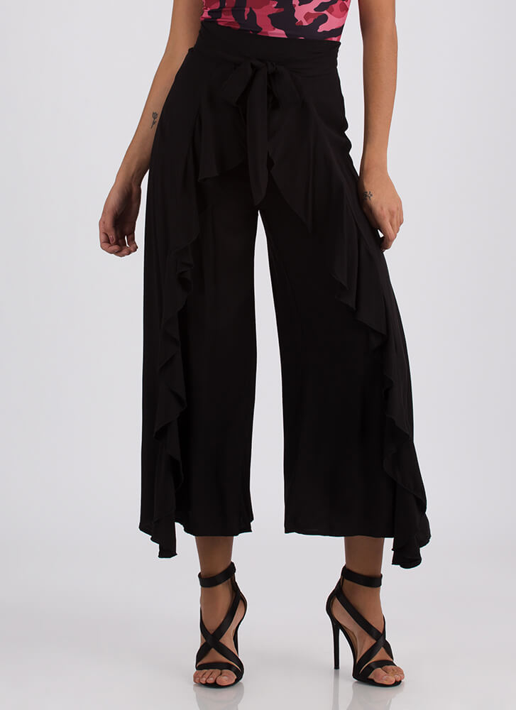 Cascading Waterfall Tied Ruffled Pants BLACK