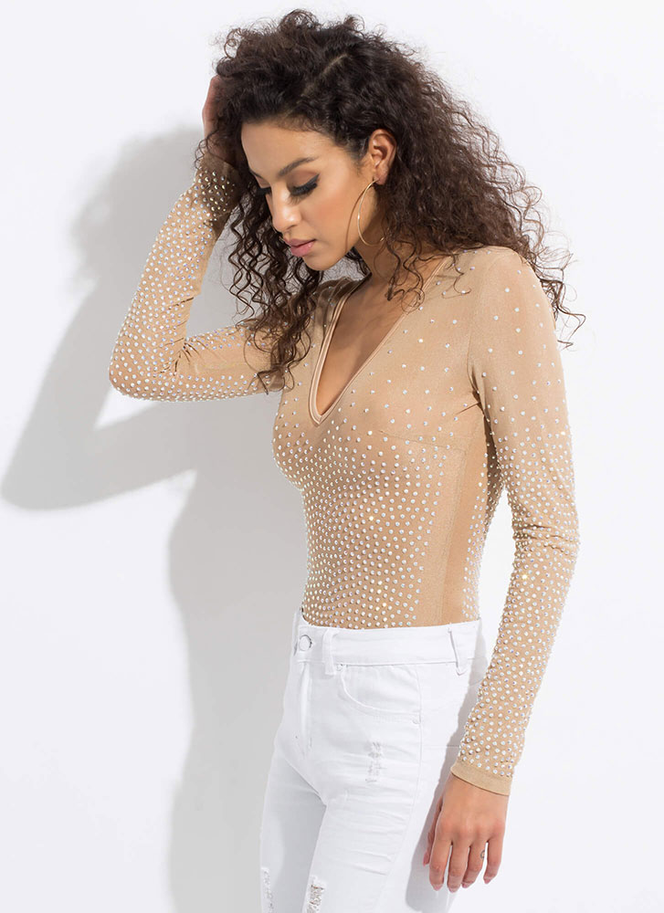 Sparkly Personality Mesh Thong Bodysuit NUDE
