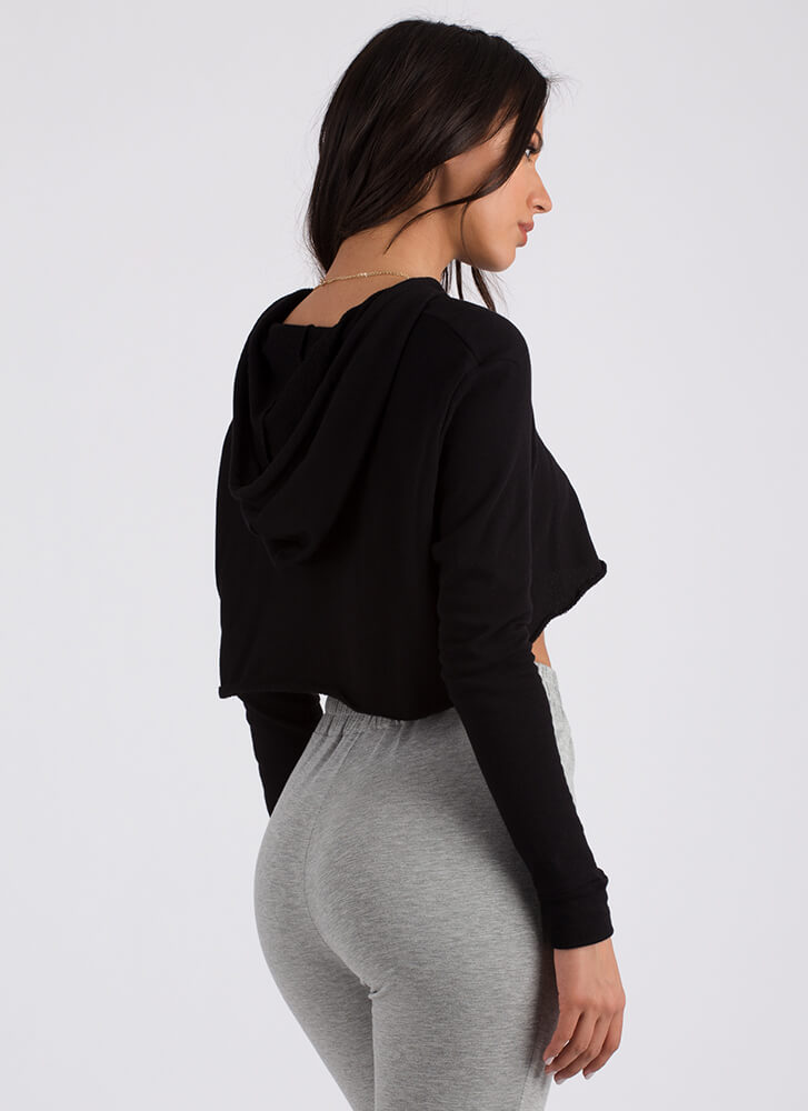 Extra Attention Cropped Hoodie BLACK