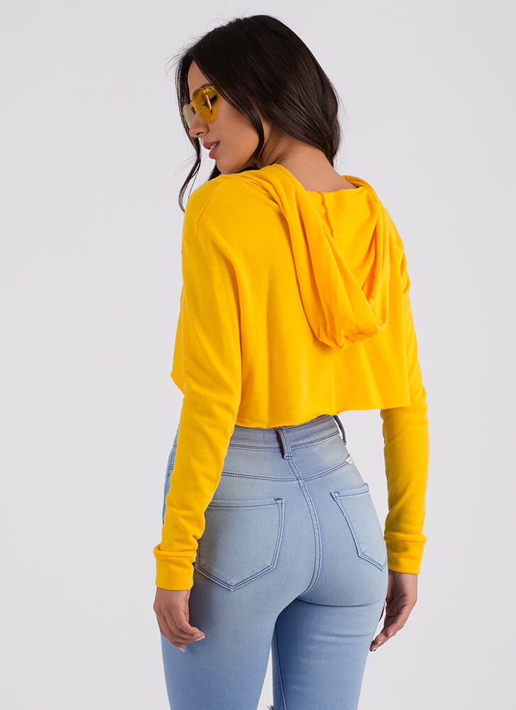 Extra Attention Cropped Hoodie YELLOW