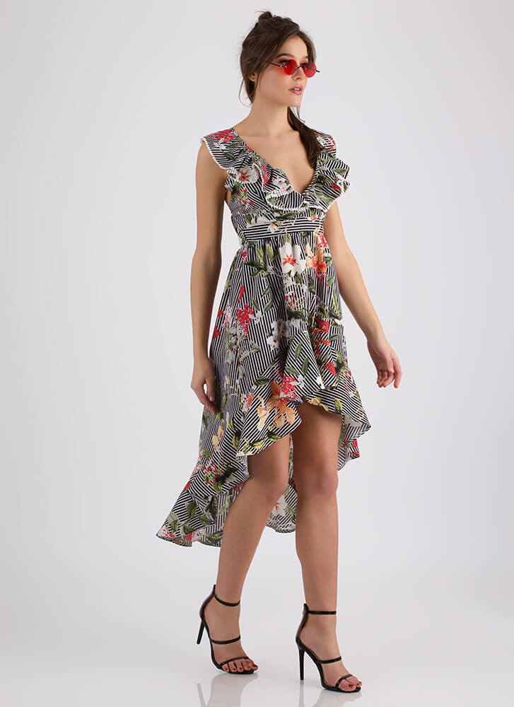 Flowery Delivery Ruffled Striped Dress BLACK