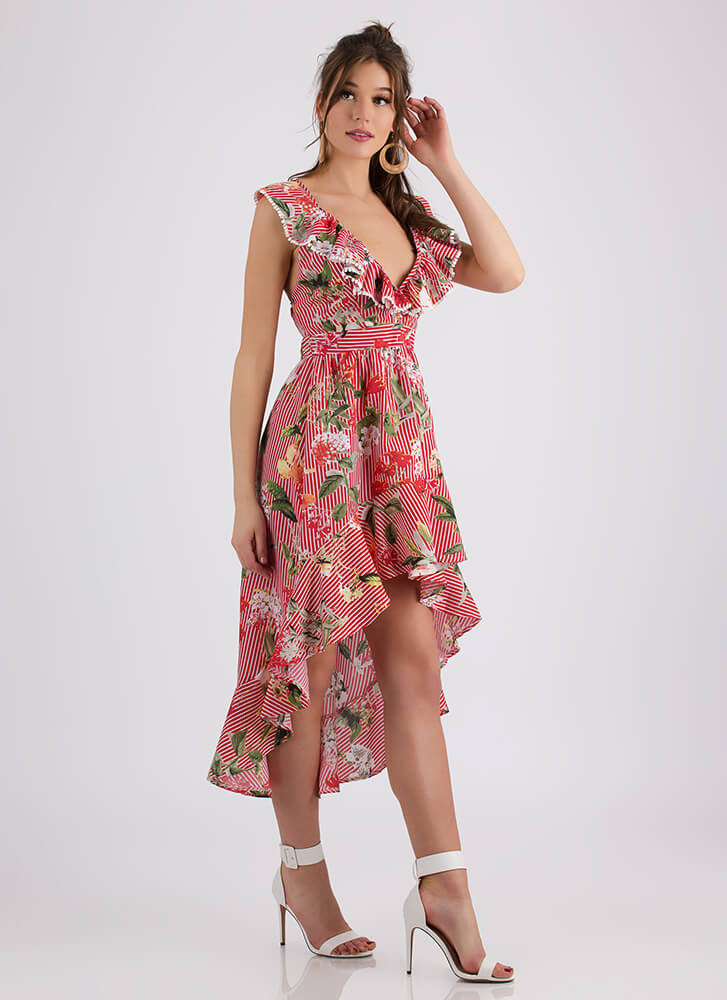 Flowery Delivery Ruffled Striped Dress RED