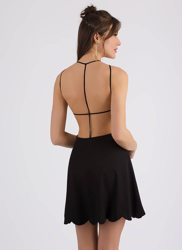Bringing Strappy Back Skater Dress BLACK