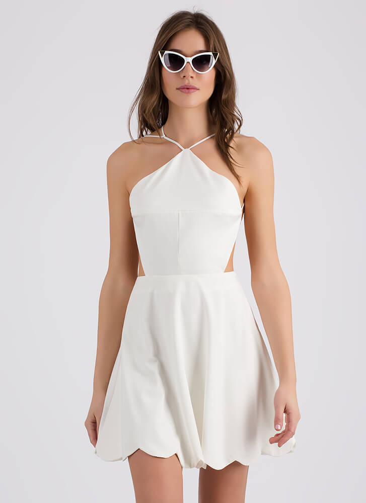 Bringing Strappy Back Skater Dress WHITE