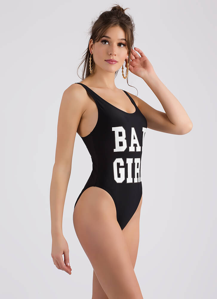 Bad Girl Graphic One-Piece Swimsuit BLACK (Final Sale)
