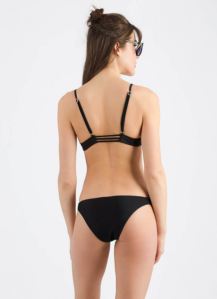 Staying Strappy Low-Rise Bikini Set BLACK