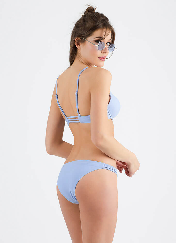 Staying Strappy Low-Rise Bikini Set BLUE