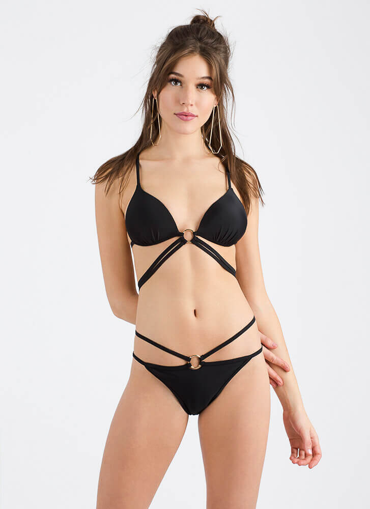 Ring Of Fire Strappy Cut-Out Bikini Set BLACK