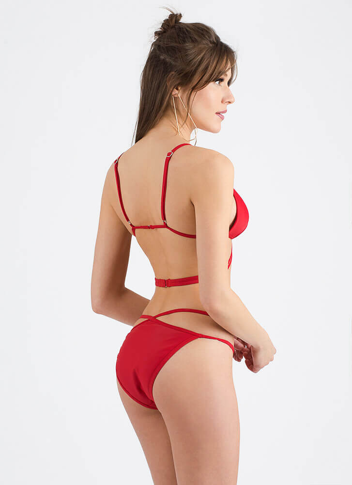 Ring Of Fire Strappy Cut-Out Bikini Set RED