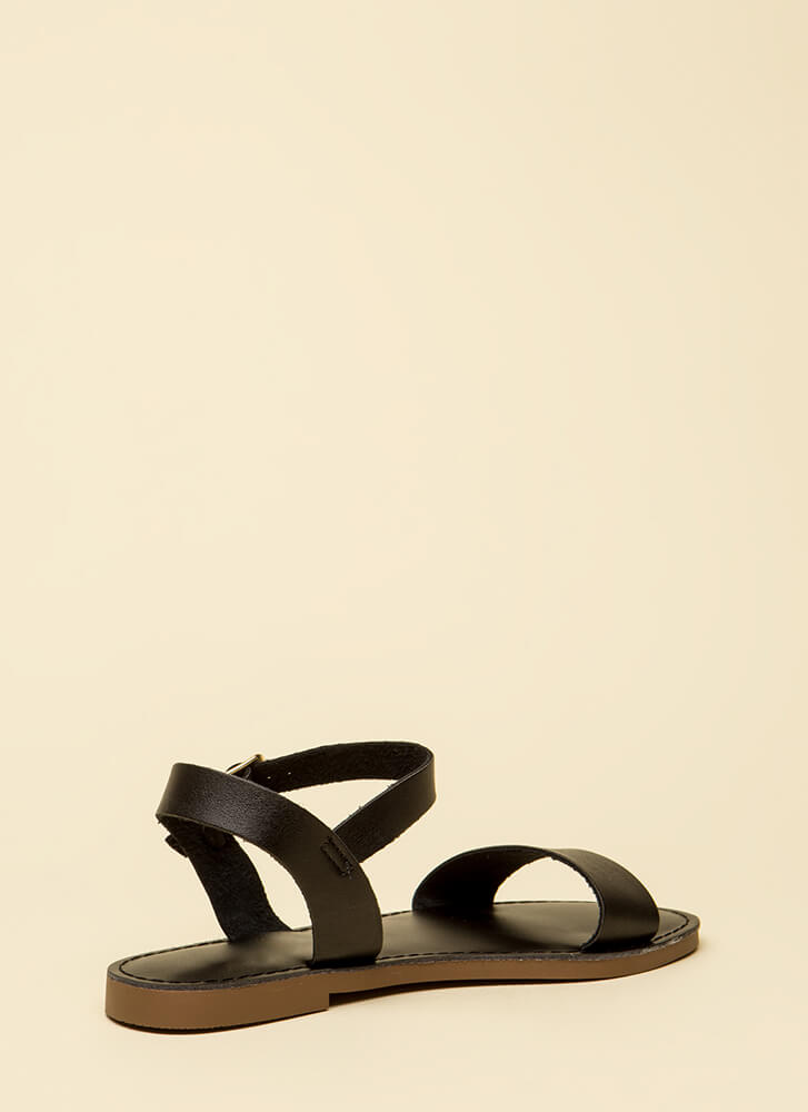 Ready To Go Faux Leather Sandals BLACK