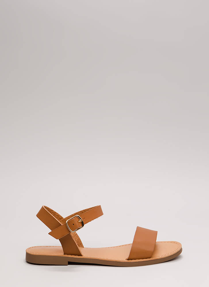 Ready To Go Faux Leather Sandals TAN